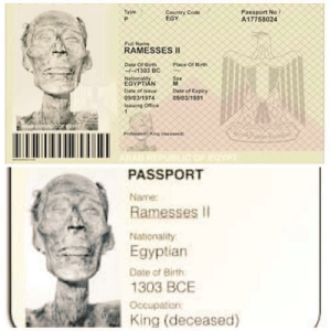 sixpenceee:  In  1974,the Egyptian authorities issued a passport to Ramesses II so that  the mummy could be transported to France for examination and  restoration.                 Source   : sixpenceee:  In  1974,the Egyptian authorities issued a passport to Ramesses II so that  the mummy could be transported to France for examination and  restoration.                 Source
