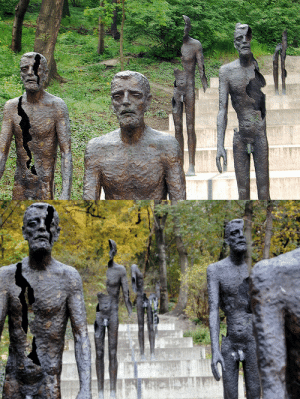 """sixpenceee:Memorial to the Victims of Communism, This is located in Prague, Czech Republic. It shows seven bronze figures descending a flight of stairs. The statues appear more """"decayed"""" the further away they are from you, losing limbs and their bodies breaking open. It symbolizes how political prisoners were affected by Communism. (Source): sixpenceee:Memorial to the Victims of Communism, This is located in Prague, Czech Republic. It shows seven bronze figures descending a flight of stairs. The statues appear more """"decayed"""" the further away they are from you, losing limbs and their bodies breaking open. It symbolizes how political prisoners were affected by Communism. (Source)"""