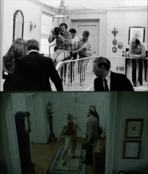 Reddit, Target, and Tumblr: sixpenceee:  The Exorcist (1973) filmed before the stedicam had been invented. To show actors going upstairs toward the demonic bedroom a makeshift seat-swing was designed using pulleys and rope, and guided by crew. The handheld shot was revolutionary for the time (as was much of the film). Via u/captainhowdy27.