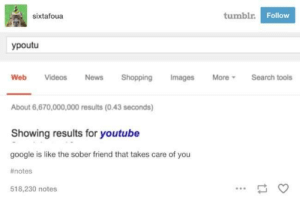 Best Friend, Google, and News: sixtafoua  tumblr  Follow  ypoutu  Web Videos News Shopping Images MoreSearch tools  About 6,670,000,000 results (0.43 seconds)  Showing results for youtube  google is like the sober friend that takes care of you  # notes  518,230 notes  es My best friend