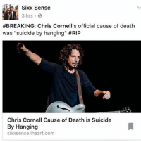 """Sixx Sense  3 hrs 3  #BREAKING: Chris Cornell's official cause of death  was """"suicide by hanging"""" #RIP  Chris Cornell Cause of Death is Suicide  By Hanging  sixxsense.iheart.com i honestly dont know what to say about chris cornell dying, and especially him killing himself i didnt listen to audioslave much, but when i was very young id listen to soundgarden a LOT hell i was planning on getting back into them just yesterday this wasnt very good news to wake up to rest in peace chris. we will all miss you i apologize for not posting today. i just felt like id be disrespectful ~saups"""