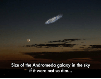 Andromeda, Galaxy, and Thing: Size of the Andromeda galaxy in the sk  if it were not so dim... <p>It Would Be An Incredible Thing To Look Up Too.</p>