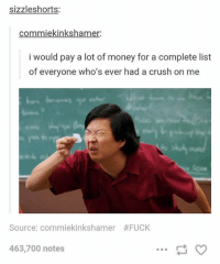 Crush, Money, and Fuck: sizzleshorts:  commiekinkshamer:  i would pay a lot of money for a complete list  of everyone who's ever had a crush on me  Source: commekinkshamer  #FUCK  463,700 notes