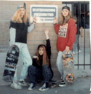 smallest-feeblest-boggart: weirdness-is-good:  historycultureeducation: 1992 Skater Girls  I'll never be this cool.   the power and exhaustion in their eyes is enough to explode a man several times over : SKATEBOARDING  PROHIBITED  OOL PROPERT  STRET  VEAR  SMALL  TooM  WbWE smallest-feeblest-boggart: weirdness-is-good:  historycultureeducation: 1992 Skater Girls  I'll never be this cool.   the power and exhaustion in their eyes is enough to explode a man several times over