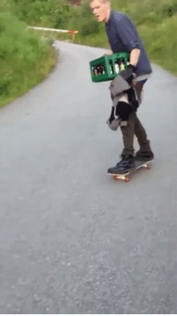 Wcgw and Case: Skateboarding with a case of beer (with loose trucks)