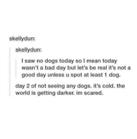dog days: skellydun:  skellydun:  I saw no dogs today so I mean today  wasn't a bad day but let's be real it's not a  good day unless u spot at least 1 dog.  day 2 of not seeing any dogs. it's cold. the  world is getting darker. im scared.
