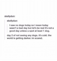 Bad, Bad Day, and Dogs: skellydun:  skellydun:  I saw no dogs today so I mean today  wasn't a bad day but let's be real it's not a  good day unless u spot at least 1 dog.  day 2 of not seeing any dogs. it's cold. the  world is getting darker. im scared. https://t.co/NFyvTvbLPi