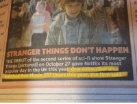 Bee Movie, Netflix, and Movie: ski  le  of  5  id.  to  an  STRANGER THINGS DON'T HAPPEN  THE DEBUT of the second series of sci-fi show Stranger  Things (pictured) on October 27 gave Netflix its most  opular day in the UK this year. One subscriber also  watched Bee Movie 357 times this year, the firm said Which one of you motherfuckers
