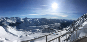 Skiing in the Alps for the first time is pretty nice.: Skiing in the Alps for the first time is pretty nice.