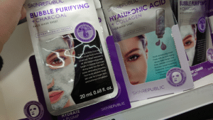 They have the same image for all their products they just photos hop a mask on it.: SKINREPUB  BUBBLE PURIFYING  +CHARCOAL  SKINREPUBL  FACE MASK SHEET  BUBBLE PURIFYING  +CHARCOAL  HYALURONIC ACIL  FACIAL  OXYGEN  DERMATOLOGIST TESTED  + COLLAGEN  ACE MASK SHEET  FACE MASK SHEET  CES  FOAMING  ERMATOLOOST ESTER  DERMATOLOGIST TESTED  Puriig bubble face mes  heet made from Activated  Charcoal. When exposed to  air, the oxygenating mask  begins to bubble and foam,  Youth enhancing sheet  mask with an anti-aging  serum helps target fine  lines, wrinkles and loss of  firmness. Super-hydrating  Hyaluronic Acid provides  a moisture bo0  diving deep into the skin's  pores eliminating impurities.  VAC  Fruit Acids exfoliate dead  skin cells for a bright, fresh  and luminous complexion.  EMASK SHI  SHEET  EEP CLEANSE  PURIFY  Smooth  MASK  youthfy  SKINRE  20 mL 0.68 fl. oz.  FACESHEET  INFUSED  SKINREPUBLIC  WITH  INFUSED  HYDRATE  + PLUMP  TH SERU  SKINREPUBLIC  MASK  FACE  SERUM They have the same image for all their products they just photos hop a mask on it.