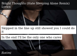 Rotimi Bright Thoughts Hate Sleeping Alone Remix Show/hide nfo | download nfo. meme