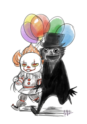 Lit, News, and Tumblr: skittle-happy-matt: kumiventuraart:    Pennywise and his boyfriend, The Babadook are off on a date to get crepes and terrorize some kids.   What, didn't you hear the news? https://twitter.com/starkrhodey/status/907262073284960257   pride next year is gonna be lit   😫😭