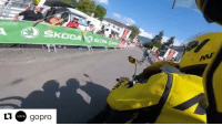 Sports, GoPro, and Race: SKODA  u gopro An inflatable banner at TourDeFrance 2016 collapsed mid-race. Thankfully noone was hurt. (Via @gopro)