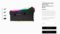 """Aesthetic, Black, and E.T.: SKU CMWLEKIT2  VENGEANCE RGB  PRO Light  Enhancement Kit  Black  E39.99 GBP  II  CORSAIR VENGEANCE RGB PRO Series  DDR4 Light Enhancement Kit completes  your custom PC's look by filling your empty  DDR4 slots, boasting 10 ultra-bright  individually addressable RGB LEDs each  CORSAIR  VENGERNCE RGB PRO  PLEASE NOTE - These Modules Contain  No DRAM Memory and are Meant for  Aesthetic Use Only""""  BLACK  ADD TO CART  FIND A RETAILER"""