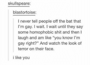 """Shit, Watch, and Im Gay: skullspeare:  blastortoise:  I never tell people off the bat that  I'm gay. I wait. I wait until they say  some homophobic shit and then  laugh and am like """"you know I'm  gay right?"""" And watch the look of  terror on their face.  i like you Gay_irl"""