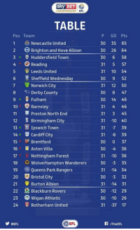 Memes, Bristol, and 🤖: SKY BET  CHAMPIONSHIP  EFL  TABLE  Pos Team  1 Newcastle United  2 Brighton and Hove Albion  3 A S Huddersfield Town  4 O Reading  5 Leeds United  Sheffield Wednesday  7 Norwich City  8 Derby County  9 Fulham  10 Barnsley  11 Preston North End  Birmingham City  12  13 A E Ipswich Town  14 Cardiff City  Brentford  15  16 Aston Villa  17 Nottingham Forest  18 Wolverhampton Wanderers  19 Queens Park Rangers  20 Bristol City  21 Burton Albion  22 Blackburn Rovers  23 Wigan Athletic  24 Rotherham United  EFL  CEFL  P GD Pts  30 35 65  30 26 64  30  6 58  31  57  31  10 54  30  9 52  31  12 50  30  8 47  30 14 46  31  4 46  31  3 45  31  10 40  31  -7 39  31  8 39  30  0 37  30  4 36  31  10 36  30 -3 35  31 14 34  30  -3 32  31 14 31  30  12 29  30  10 26  31  37 17  ITheEFL. Good morning! 😍