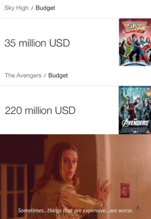 Budgeteer: Sky High / Budget  SKY  35 million USD   The Avengers Budget  220 million USD  AVENDERS   Sometimes...things that are expensive...are worse.