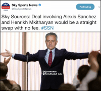 Memes, News, and Sports: sky  news @SkySportsNews  Sky Sports News  sports  Following  Sky Sources: Deal involving Alexis Sanchez  and Henrikh Mkitharyan would be a straight  swap with no fee. #SSN  fTrollFootball  団  TheTrollFootball Insta Man Utd fans right now https://t.co/jJ5YNKjGyE