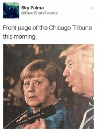 Chicago, Free, and World: Sky Palma  @Dead StateTweets  Front page of the Chicago Tribune  this morning. That look you get when you realize the leader of the free world is a lying raving lunatic.