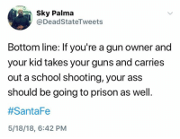 Ass, Guns, and School: Sky Palma  @DeadStateTweets  Bottom line: If you're a gun owner and  your kid takes your guns and carries  out a school shooting, your ass  should be going to prison as well.  #Santa Fe  5/18/18, 6:42 PM (S)