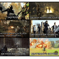 Skyrim, Eso, and Witcher: SKY RIMA  SKY RIM WITH BLACK JACK  UNITCHER AND HOOKERS  SKYRIM HARDCORE  SKY RIM WITH FIRE GUNS  SKY RIM FOR OTAKUS  NIINITTENIDOS SKY RIM QOTP: Which of these games in the pic do you play? ~ Repost from @themartianlawman ~ Accounts: - Other TES IG: @tundraofskyrim - Twitter: skyrim_dragon_ - Snapchat: cocoachicken - YouTube: Link in bio. - Personal: @holly_rowlands_ • tes elderscrolls theelderscrolls elderscrollsv theelderscrollsv elderscrollsonline eso skyrim skyrimmeme skyrimmemes gaming game games rpg dovahkiin Dragonborn Bethesda dragon dragons fallout fallout3 fallout4 witcher witcher3 finalfantasy darksouls zelda legendofzelda tinysmile