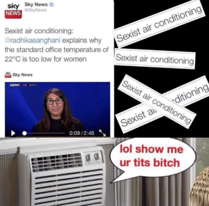 Sexist Air Conditioning: sky Sky News  NEWS  Sexist air conditioning  Sexist air conditioning  Sexist air conditioning:  radhikasanghani explains why  the standard office temperature of  22°C is too low for womern  ooerature  Sky News  Sexist air conditio  LYNEWS FTSE 667935  ning  Sexisaditioning  0:09/2:46  lol show me  ur tits bitch