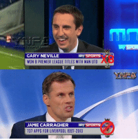 The difference...: Sky SPORTS  GARY NEVILLE  WON 8 PREMIER LEAGUE TITLES WITH MAN UTD  Sky SPORTS  JAMIE CARRAGHER  737 APPS FOR LIVERPOOL 1997-2013 The difference...