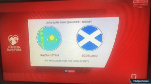 Memes, Sports, and Euro: sky sports  main event  LIVE  UEFA EURO 2020 QUALIFIER-GROUP I  EUROPEAN  QUALIFIERS  KAZAKHSTAN  SCOTLAND  WE APOLOGISE FOR THE LOSS OF BETS  sky sports  囗  TheSportsman RT @TheSportsmanBet: 😭 Thought they were a huge price at evens.  At least they've apologised...   #KAZSCO https://t.co/rUkDayGVWN