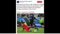 Barcelona, Chelsea, and Memes: Sky Sports Premier League  @SkySportsPL  Following  Barcelona are keen to sign Chelsea's midfield  dynamo N'Golo Kante in a deal which could  see Andre Gomes heading for Stamforod  Bridge, according to Sky in Italy.  Follow: skysports.tv/gbHSOp Live scenes at Chelsea as Barcelona wants to sign N'Golo Kanté in exchange for André Gomes https://t.co/dthBfUbyur