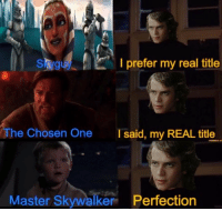 Star wars memes: Skyguy  I prefer my real title  he Chosen One  I said, my REAL title  Master Skywalker Perfection Star wars memes
