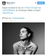"""<p>Skylark Grey will be performing with <a href=""""http://www.nbc.com/the-tonight-show/filters/guests/84876"""" target=""""_blank""""><strong>Nicki Minaj</strong> </a>tonight!</p>: Skylar Grey e  @SkylarGrey  Following  Super excited to be on @FallonTonight w  @NICKIMINAJ&Christoph Waltz tonight!  #BedOfLies  (Photo by @tylershields)  わt: ★ <p>Skylark Grey will be performing with <a href=""""http://www.nbc.com/the-tonight-show/filters/guests/84876"""" target=""""_blank""""><strong>Nicki Minaj</strong> </a>tonight!</p>"""
