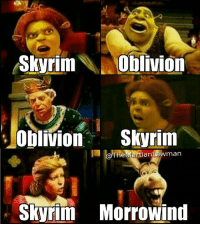 Donkey, Memes, and Shrek: Skyrim  Oblivion  Oblivion  Skyrim  @The  Mal  tian Luawman  Skyrim Morrowind Donkey, my man. . . Check out my IG partners @themattycakesproject, @thefallouthandbook, @civilfallout, @fallout.jokes, and @videogame.trivia! . . . Skyrim Oblivion Morrowind TES ES Bethesda Shrek Donkey TheElderScrolls ElderScrolls Fallout4 Fallout GamerGuy InstaGaming Gamestagram Gamer Gaming VideoGame VideoGames GamerLife