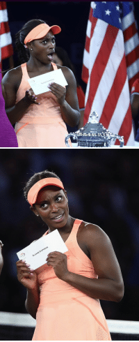 frontpagewoman:  Sloane does not believe that her U.S Open check is for $3.7 million dollars.: SL  OANE STEPHENS frontpagewoman:  Sloane does not believe that her U.S Open check is for $3.7 million dollars.