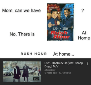 Low effort: Sla.chan  thins tukA  Mom, can we have  LAUNGA aoc  LE MAN  DELEST  At  Home  No. There is  aioes darau  Huieivesers  At home...  RUSH HOUR  PSY - HANGOVER (feat. Snoop  Dogg) M/V  officialpsy  5 years ago - 337M views  5:09 Low effort