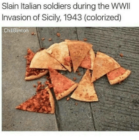 i can't stop sneezing what the fuck: Slain Italian soldiers during the WWII  Invasion of Sicily, 1943 (colorized)  ChillBlinton i can't stop sneezing what the fuck