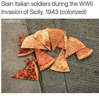 Memes, Slaine, and 🤖: Slain Italian soldiers during the WWII  Invasion of Sicily, 1943 (colorized)  ChillBlinton yikes i love thee
