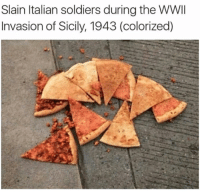 Italian Soldiers: Slain Italian soldiers during the WWII  Invasion of Sicily, 1943 (colorized)