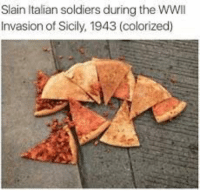Italian Soldiers: Slain Italian soldiers during the WWlI  Invasion of Sicily, 1943 (colorized)