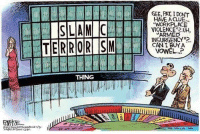 "Cartoon, Cartoons, and Conservative: SLAM C  TERRORISM  THING  GEE, PAT IDONT  ""WORKPLACE  VIOLENCE UH,  ARMED  CAN I BUY A  VOWEL. Cartoon of the Week: Can I Buy a Vowel?"