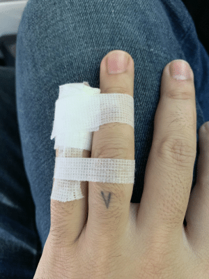 Slammed my finger in a door before coffee this morning.  Nothing broken but blood blooms beneath the nail.  Nowhere to go but up.  Dressing by @VAMNit https://t.co/TLs21OYRsg: Slammed my finger in a door before coffee this morning.  Nothing broken but blood blooms beneath the nail.  Nowhere to go but up.  Dressing by @VAMNit https://t.co/TLs21OYRsg