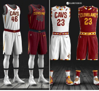 Cavs, Memes, and Logos: SLAMSTUDIOS  CAVS  46  CLEVELANE  PLEVELAND  48  23 23  CLE  CAIS The Cavs' new jerseys (left) or my concept (right)? 🤔 👉 Thoughts on the new Cavs jerseys? -- Follow @slamstudios for more jersey concepts! 🔥 DM if interested in cheap logos, graphics, & more.