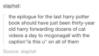 "~Dobby: slaphat:  the epilogue for the last harry potter  book should have just been thirty-year  old harry forwarding dozens of cat  videos a day to mogonagall with the  caption ""is this u"" on all of them  Source: slaphat ~Dobby"