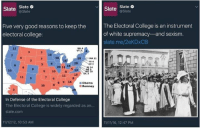 I like this till it works against me: Slate Slate  Five very good reasons to keep the  electoral college:  NH 4  VT 3A  MA 11.  RI 4  20  2011 18  NJ 14  DE 3  6 10 8  55  MD 10  DC3  15  6 9 16  Obama  38  BRomney  In Defense of the Electoral College  The Electoral College is widely regarded as an...  Slate.com  11112/12, 10:53 AM  Slate Slate  @Slate  The Electoral College is an instrument  of white supremacy and sexism.  slate me/2ekDxCB  11/11/16, 12:47 PM I like this till it works against me