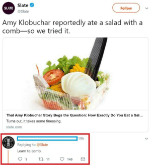 How, Slate, and Com: Slate  @Slate  SLATE  Follow  Amy Klobuchar reportedly ate a salad with a  comb-so we tried it.  l-  That Amy Klobuchar Story Begs the Question: How Exactly Do You Eat a Sal...  Turns out, it takes some finessing.  slate.com  19h  Replying to @Slate  Learn to comb.  91 t149 Learn to comb