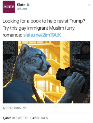 "practicalityinpraxis:  7uigi:  practicalityinpraxis:  moonbian: benepla:  c-bassmeow: This is real   @scarred-and-purrfect  Oh yeah, let's ignore an indie, queer graphic novel featuring muslim immigrants and the struggle of existing queerly in a heteronormative society, because it has cheetah people.Because shitting all over queer and immigrant stories is definitely leading edge revolutionary thinking in this era of increasing anti-queer, anti-immigrant violence.It's not like furries are literally, on a lowball estimate that doesn't even factor in gender identity, 90% queer or anything. It's not like there's an enormous crossover between ""people who are attacked for their identity"" and ""people who take solace in escapist fiction that features societies where these horrible problems can be addressed at a distance because they are so visibly fantastic."" Oh wait.Fuck off.""Not liking furries"" doesn't make shitting all over stories that feature queer immigrants revolutionary.It just means you've found a cute, funny way to make your bigotry look cool and funny.  @practicalityinpraxis Is this reply satire or not  Someone points out that you're using jokes that stopped being funny in 2004 as a veil to unduly criticize queer, Muslim, immigrant stories published by queer authors independently while literal fascists take power on a global level. And you take the criticism so poorly that you assume it must be joke. But, then, you are a child who has likely not experienced this sort of climate before. No, it's not satire, and if you have any respect for queer people, immigrants, etc you will not use humour to attack them. Humour is best used punching up, at people in power, not punching down, at queer subcultures you find funny. Now, go away because I have no interest in talking further with a child that finds mocking queer authors and subcultures to be a good time.  I dont want to get involved in your little debate because I dont find this revolutionary at all but just to be clear I posted this not to make fun of any community muslims, furry, etc. but because the headline is so ridiculous. This will do nothing to fight trump. Its performative, identity politics hogwash to think reading a furry erotica will dismantle or even aide in the fight against trump. The headline is nonsense with that logic any erotica that isnt straight is revolutionary. No.: Slate  Slate  @Slate  Looking for a book to help resist Trump?  Try this gay immigrant Muslim furry  romance: slate.me/2im19UK  1/13/17, 6:05 PM  1,452 RETWEETS 1,460 LIKES practicalityinpraxis:  7uigi:  practicalityinpraxis:  moonbian: benepla:  c-bassmeow: This is real   @scarred-and-purrfect  Oh yeah, let's ignore an indie, queer graphic novel featuring muslim immigrants and the struggle of existing queerly in a heteronormative society, because it has cheetah people.Because shitting all over queer and immigrant stories is definitely leading edge revolutionary thinking in this era of increasing anti-queer, anti-immigrant violence.It's not like furries are literally, on a lowball estimate that doesn't even factor in gender identity, 90% queer or anything. It's not like there's an enormous crossover between ""people who are attacked for their identity"" and ""people who take solace in escapist fiction that features societies where these horrible problems can be addressed at a distance because they are so visibly fantastic."" Oh wait.Fuck off.""Not liking furries"" doesn't make shitting all over stories that feature queer immigrants revolutionary.It just means you've found a cute, funny way to make your bigotry look cool and funny.  @practicalityinpraxis Is this reply satire or not  Someone points out that you're using jokes that stopped being funny in 2004 as a veil to unduly criticize queer, Muslim, immigrant stories published by queer authors independently while literal fascists take power on a global level. And you take the criticism so poorly that you assume it must be joke. But, then, you are a child who has likely not experienced this sort of climate before. No, it's not satire, and if you have any respect for queer people, immigrants, etc you will not use humour to attack them. Humour is best used punching up, at people in power, not punching down, at queer subcultures you find funny. Now, go away because I have no interest in talking further with a child that finds mocking queer authors and subcultures to be a good time.  I dont want to get involved in your little debate because I dont find this revolutionary at all but just to be clear I posted this not to make fun of any community muslims, furry, etc. but because the headline is so ridiculous. This will do nothing to fight trump. Its performative, identity politics hogwash to think reading a furry erotica will dismantle or even aide in the fight against trump. The headline is nonsense with that logic any erotica that isnt straight is revolutionary. No."
