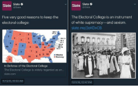 The narrative is only convenient insofar as it is useful at the time. [madman]: Slate  Slate  @Slate  Slate  Slate  Five very good reasons to keep the  The Electoral College is an instrument  electoral college:  of white supremacy and sexism.  slate. me/2eKDXCB  NH 4  MA 11  RI 4  CT 7  2011 18  9 6 10 8.  13 DE 3  MD io  DC3  11 6 9 16  Obama  Romney  In Defense of the Electoral College  The Electoral College is widely regarded as an...  Slate.com  11 12/12, 10:53 AM  11/11/16, 12:47 PM The narrative is only convenient insofar as it is useful at the time. [madman]