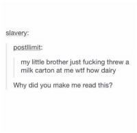 Fucking, Wtf, and Humans of Tumblr: slavery:  postllimit:  my little brother just fucking threw a  milk carton at me wtf how dairy  Why did you make me read this?