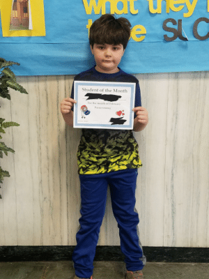 He said hes disappointed he was picked as student of the month because its too much responsibility for a 2nd grader: SLC  Student of the Month  For the month of February  Perseverance He said hes disappointed he was picked as student of the month because its too much responsibility for a 2nd grader