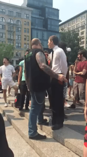 "sleepydumpling:  welkinalauda:  tikkunolamorgtfo:  xmasterassassinx:  winterpunk:  xekstrin:  crackrockdebby:   d–i–y—-orgasms:   be-blackstar:   tikkunolamorgtfo:   WATCH THIS: MAN SHUTS DOWN ANTISEMITIC WHITE POWER PREACHER One of my friends in the Boston area took this video and gave me permission to post it. She writes: "" I stood there for twenty minutes, easily. Hitler Youth kept trying to preach about ""the evils of the Jews"" and the big guy barely let him get a word in edgewise. At one point, the big guy yelled, ""I will be here ALL DAY"" and the crowd cheered."" I promise this will be the best thing you see today.   Where's a goddamn bullhorn when you need it?   wow that preacher is probably shitting his pants low key with some big ass biker that close to his face     Caption for those who need it– the guy in the suit is saying shit like ""all races must serve us as put here by God"" and a lot of racist/anti Semitic drivel. Every time he opens his mouth to speak though, the biker yells ""AHHHHHHH!!!"" Until the man in the suit shuts up again. When the man in the suit takes a breath and opens his mouth, the biker doesn't even let him get started and just screams ""AHHHHH""…. This happens a few times. The guy in the suit plows ahead but the biker screams and says ""No no no no!!!"" I love biker dude  Make racists afraid again.  Um, sorry, but the guy in the suit deserves to speak his opinions. How'd you like to get screamed at everything time you spoke about what you are passionate about? I'm not saying I agree with his opinion, but that doesn't make shutting him down like this right. Freedom of Speech. Just agree to disagree and walk away.  1) Freedom of Speech means you have the right to speak your mind without being punished or censored by the government. It does not mean other people have to listen to you, and it does not mean they can't yell over you if you're saying something disgusting and inflammatory. The Biker Dude has just as much right to do what he's doing as the Neo-Nazi. Nobody's right is being infringed upon here. 2) The guy is ""passionate about"" hating and inciting violence against Jews. I'm passionate about information literacy, candle-making, and giving snuggles to my pet rabbit. There's a fucking difference, there.  3) ""Agree to disagree"" is something you say when two people can't come to a consensus over whether or not The Empire Strikes Back is the best Star Wars movie. It's not something you say when one person is Jewish and the other person believes Jews are a evil satanic cabal trying to enslave the white race who must be stopped at all costs. That's not an ""agree to disagree"" topic. We don't ""agree to disagree"" over the issue of whether or not Jews are people. We don't ""agree to disagree"" over whether or not black people, immigrants, Muslims, LGBTQ folks, etc. are deserving of basic human rights. These things are not up for debate, and there is no middle-ground to be had with people who think otherwise.     ""I can't remember where I heard this, but someone once said that defending a position by citing free speech is sort of the ultimate concession; you're saying that the most compelling thing you can say for your position is that it's not literally illegal to express.""– Randall Munroe  Always reblog the anti-hate bikie. : sleepydumpling:  welkinalauda:  tikkunolamorgtfo:  xmasterassassinx:  winterpunk:  xekstrin:  crackrockdebby:   d–i–y—-orgasms:   be-blackstar:   tikkunolamorgtfo:   WATCH THIS: MAN SHUTS DOWN ANTISEMITIC WHITE POWER PREACHER One of my friends in the Boston area took this video and gave me permission to post it. She writes: "" I stood there for twenty minutes, easily. Hitler Youth kept trying to preach about ""the evils of the Jews"" and the big guy barely let him get a word in edgewise. At one point, the big guy yelled, ""I will be here ALL DAY"" and the crowd cheered."" I promise this will be the best thing you see today.   Where's a goddamn bullhorn when you need it?   wow that preacher is probably shitting his pants low key with some big ass biker that close to his face     Caption for those who need it– the guy in the suit is saying shit like ""all races must serve us as put here by God"" and a lot of racist/anti Semitic drivel. Every time he opens his mouth to speak though, the biker yells ""AHHHHHHH!!!"" Until the man in the suit shuts up again. When the man in the suit takes a breath and opens his mouth, the biker doesn't even let him get started and just screams ""AHHHHH""…. This happens a few times. The guy in the suit plows ahead but the biker screams and says ""No no no no!!!"" I love biker dude  Make racists afraid again.  Um, sorry, but the guy in the suit deserves to speak his opinions. How'd you like to get screamed at everything time you spoke about what you are passionate about? I'm not saying I agree with his opinion, but that doesn't make shutting him down like this right. Freedom of Speech. Just agree to disagree and walk away.  1) Freedom of Speech means you have the right to speak your mind without being punished or censored by the government. It does not mean other people have to listen to you, and it does not mean they can't yell over you if you're saying something disgusting and inflammatory. The Biker Dude has just as much right to do what he's doing as the Neo-Nazi. Nobody's right is being infringed upon here. 2) The guy is ""passionate about"" hating and inciting violence against Jews. I'm passionate about information literacy, candle-making, and giving snuggles to my pet rabbit. There's a fucking difference, there.  3) ""Agree to disagree"" is something you say when two people can't come to a consensus over whether or not The Empire Strikes Back is the best Star Wars movie. It's not something you say when one person is Jewish and the other person believes Jews are a evil satanic cabal trying to enslave the white race who must be stopped at all costs. That's not an ""agree to disagree"" topic. We don't ""agree to disagree"" over the issue of whether or not Jews are people. We don't ""agree to disagree"" over whether or not black people, immigrants, Muslims, LGBTQ folks, etc. are deserving of basic human rights. These things are not up for debate, and there is no middle-ground to be had with people who think otherwise.     ""I can't remember where I heard this, but someone once said that defending a position by citing free speech is sort of the ultimate concession; you're saying that the most compelling thing you can say for your position is that it's not literally illegal to express.""– Randall Munroe  Always reblog the anti-hate bikie."