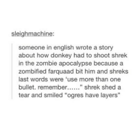 "Bored, Donkey, and Shrek: sleighmachine:  someone in english wrote a story  about how donkey had to shoot shrek  in the zombie apocalypse because a  zombified farquaad bit him and shreks  last words were 'use more than one  bullet. remembe"" shrek shed a  tear and smiled ""ogres have layers""  13 i'm bored"